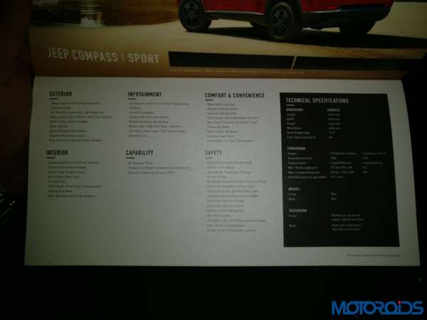 Jeep Compass India launch specifications