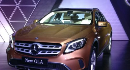 Mercedes-Benz GLA facelift launch yellow front 3 quarter