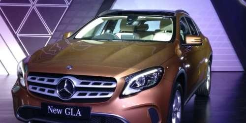 Mercedes-Benz GLA facelift launch yellow front 3 quarter