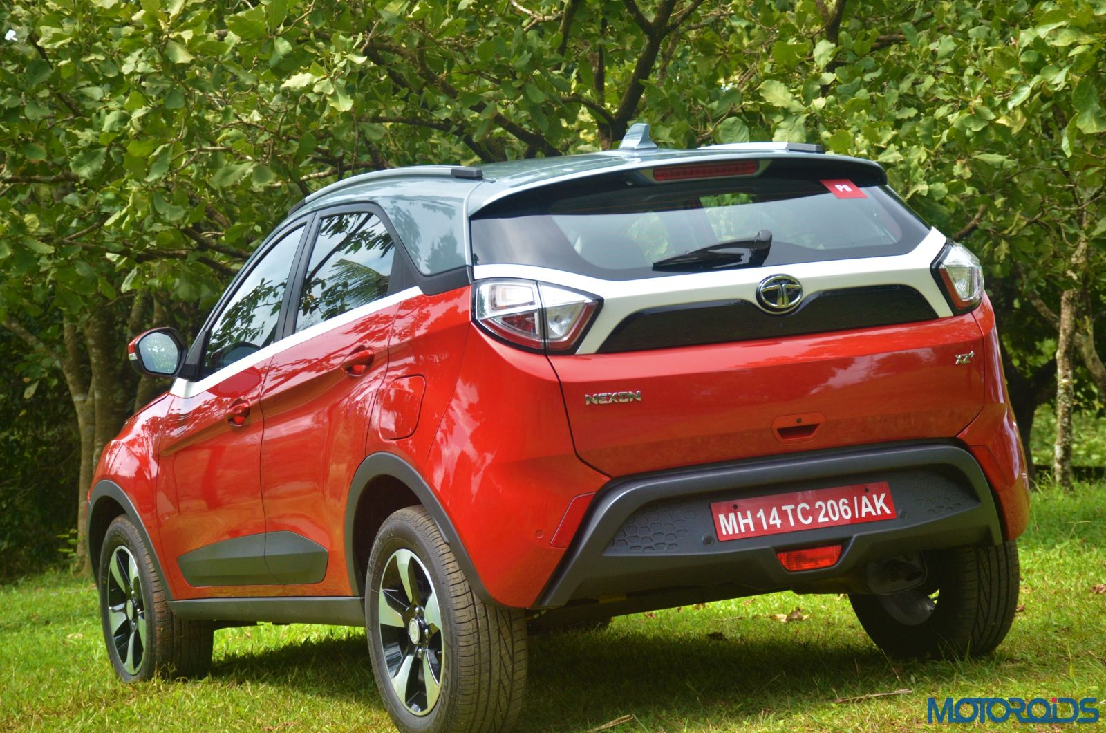 Tata-Nexon-rear-threequarters-right