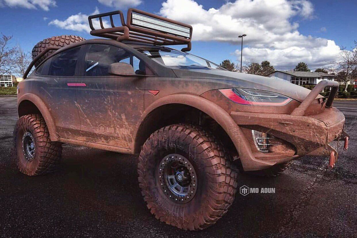 Badass Tesla Model X Off Road Rendered Motoroids