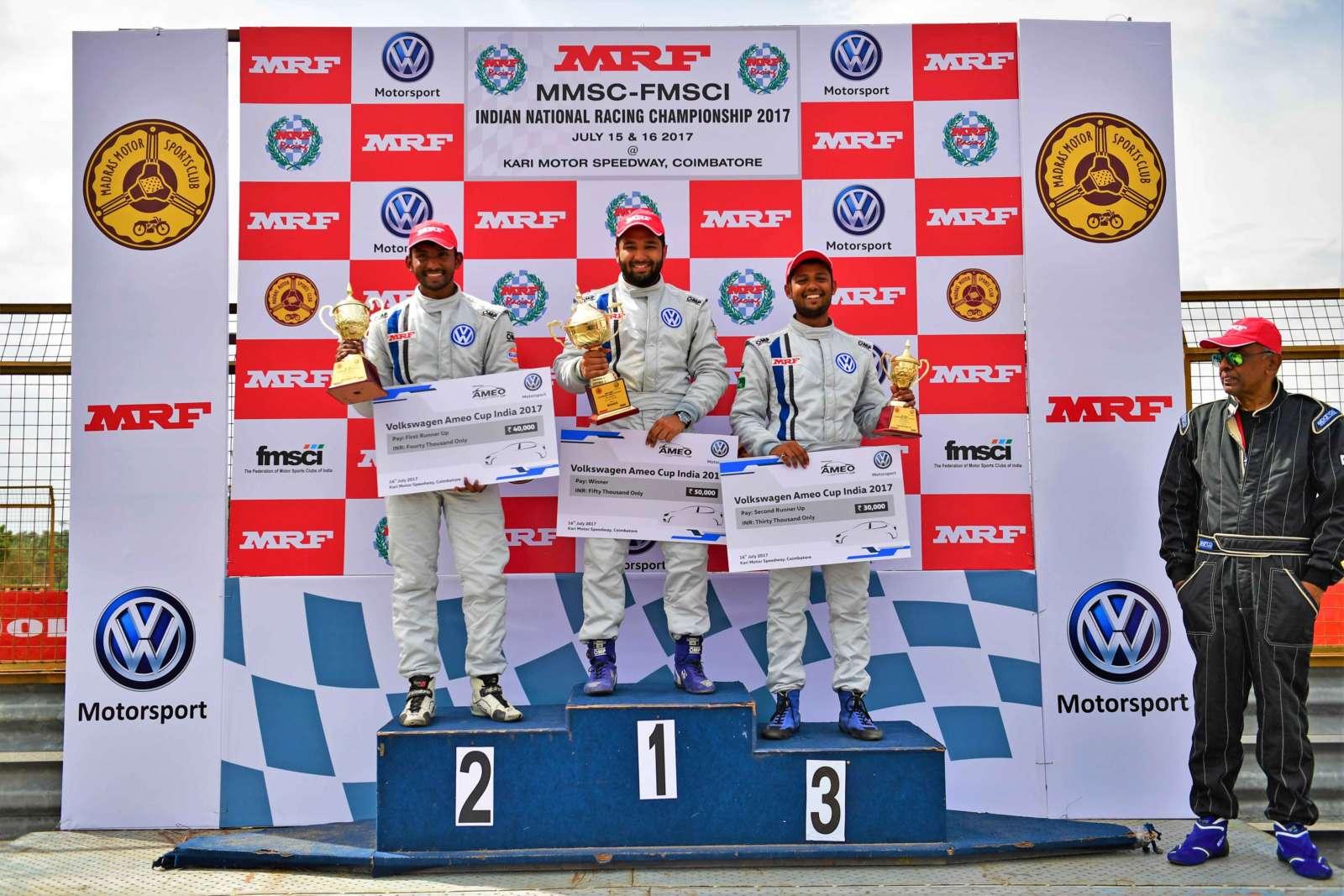 Karminder-Pal-Singh-on-Podium-during-Ameo-Cup-Round-1_Race-1