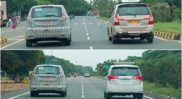Mahindra U321 MPV Spied Testing Alongside Innova / Crysta: Size Put in Perspective