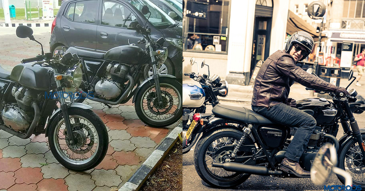 royal enfield 750 duo spied and one has an uncanny resemblance to triumph bonneville motoroids. Black Bedroom Furniture Sets. Home Design Ideas
