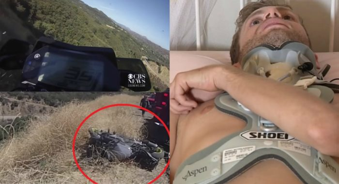 Motorcyclist Rides Off The Cliff; Horrifying Footage Caught On Camera