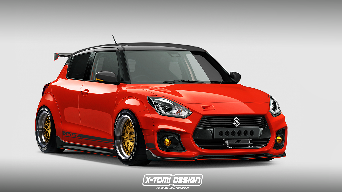 slammed down suzuki swift sport render is a low rider s dream motoroids. Black Bedroom Furniture Sets. Home Design Ideas