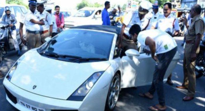 Lamborghini Gallardo in Chennai gets too close to the Law, owner fined
