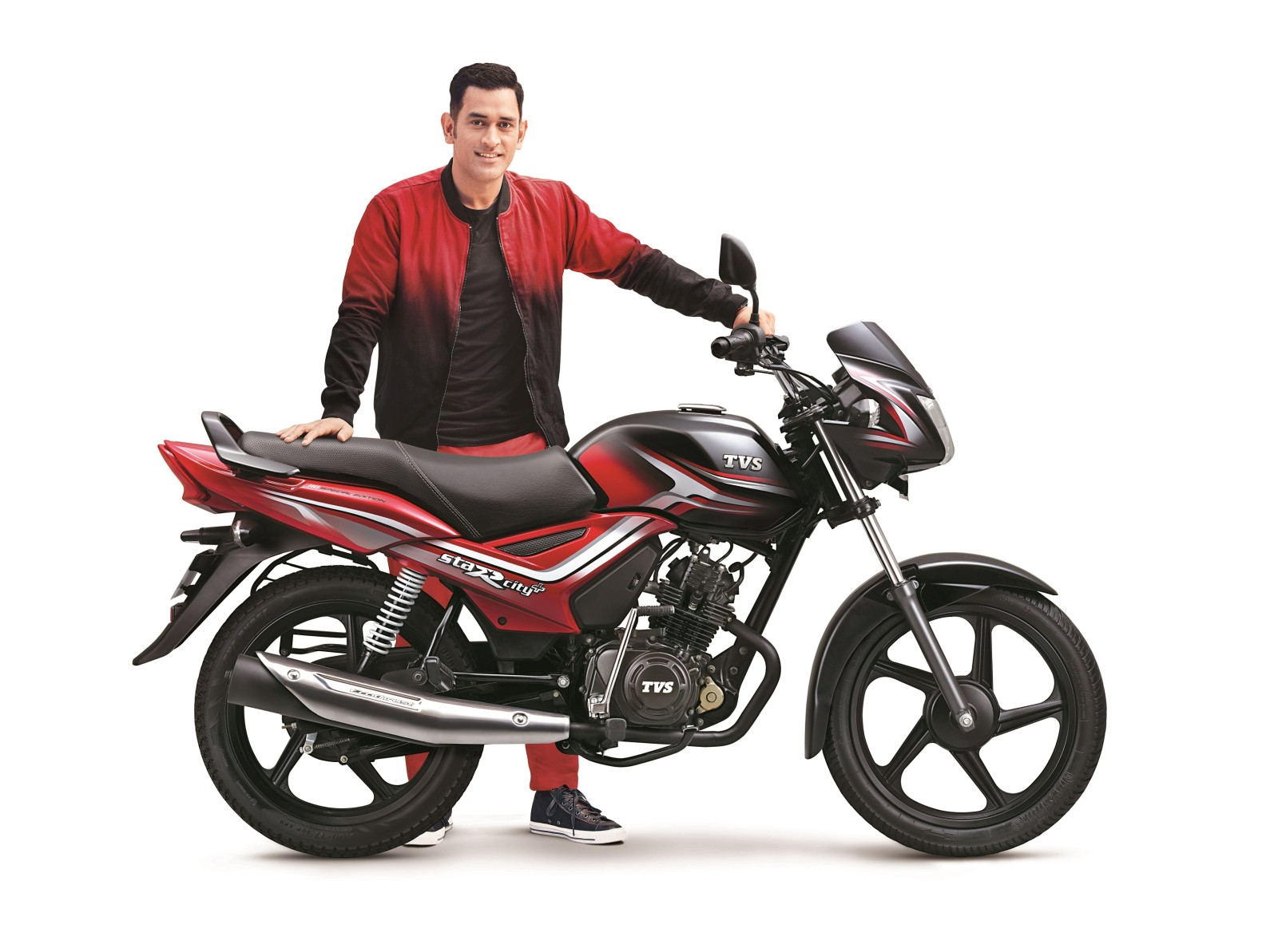 New, dual tone styled TVS StaR City+ has also arrived for the festive season. The 110cc, motorcycle now boasts of new design cues, a TVS chrome 3D label ...