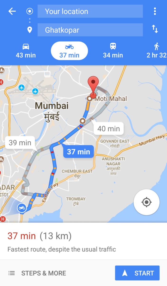Google Maps Now Feature A Two Wheeler Mode (2)