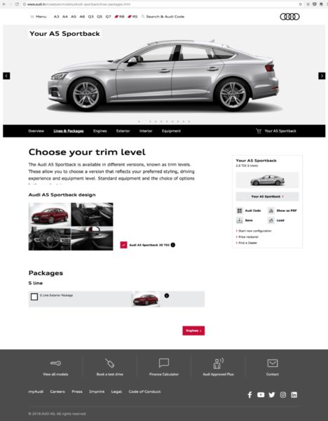 Audi India S Comprehensively Revamped Website Goes Live Motoroids