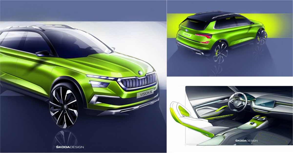 skoda vision x urban crossover concept to be showcased at 2018 geneva motor show motoroids. Black Bedroom Furniture Sets. Home Design Ideas
