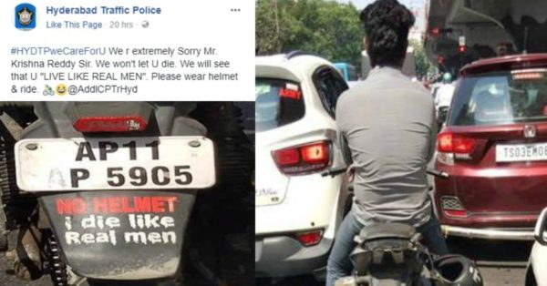 Hyderabad Traffic Police Troll Man Without Helmet – Feature Image