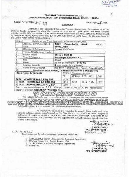 Tata Nexon AMT XZA and XMA certification leaked