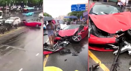 Crash_ Woman Wrecks A New Ferrari 458 Minutes After Taking It Out Of Dealership - Feature