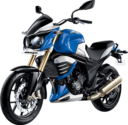 Mahindra Mojo XT300 Ocean Blue side profile