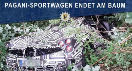 Test Driver Crashes Pagani Huayra Prototype Into A Tree In Germany (2)