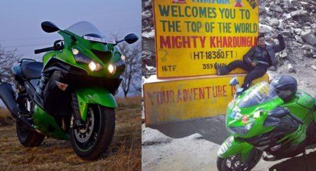 World's First Kawasaki Ninja ZX-14R To Reach Khardungla Pass (1)