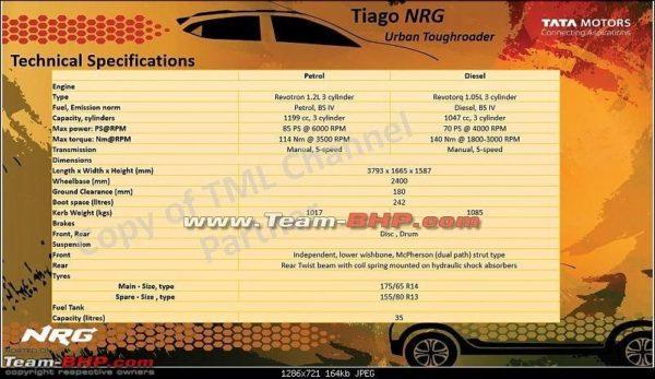 Tiago NRG specs
