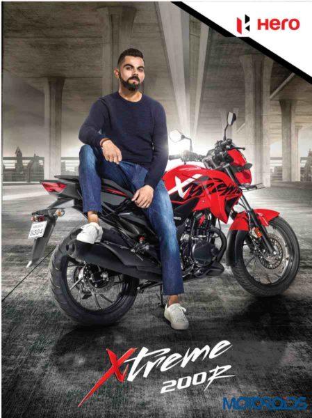 Virat Kohli, Brand Ambassador of Hero MotoCorp Ltd. with the Xtreme 200R