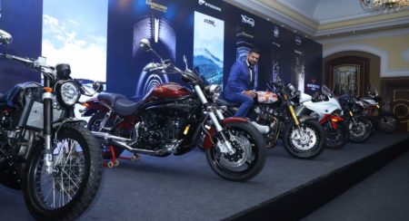 Ajinya Firodia Managing Director, Motoroyale unveils the seven new superbikes at the national press