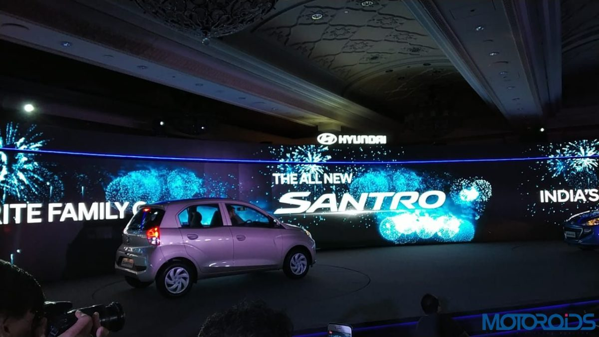 All new Santro Launch rear quarter beige