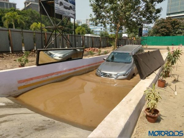 Fortuner off road camp water trench entry slope
