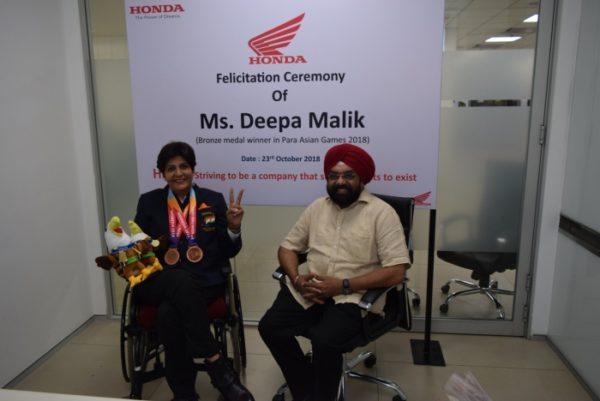 Honda felicitated Miss Deepa Malik for her victory at Asian Para Games (1)