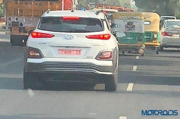Hyundai Kona EV Spied Testing Rear View Shot