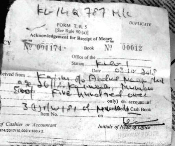Kasim fined for speeding Challan