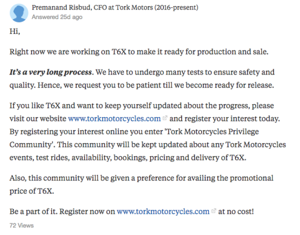 Tork motorcycle Quora answer