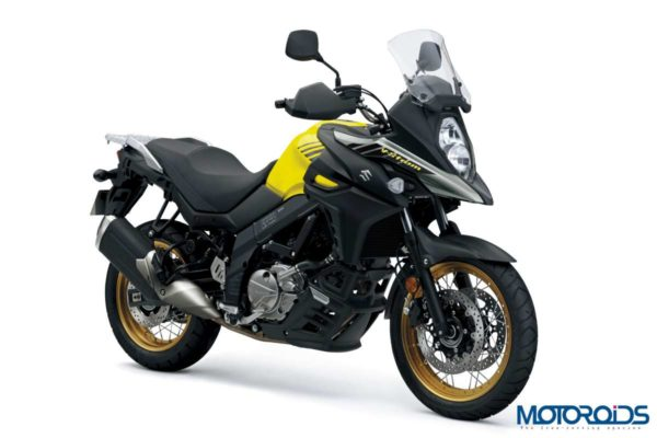 2018 Suzuki V-Strom 650 XT ABS Black & Yellow Front Three Quarter