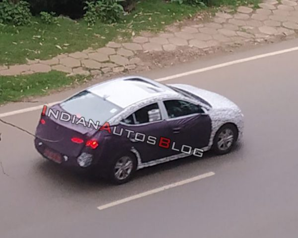 2019 Hyundai Elantra spy shot rear quarter top