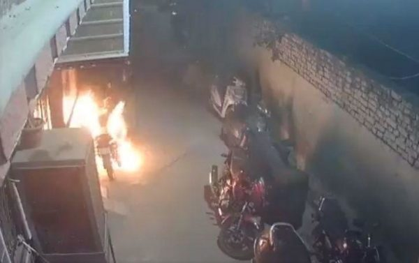 Drunk man sets bike on fire start