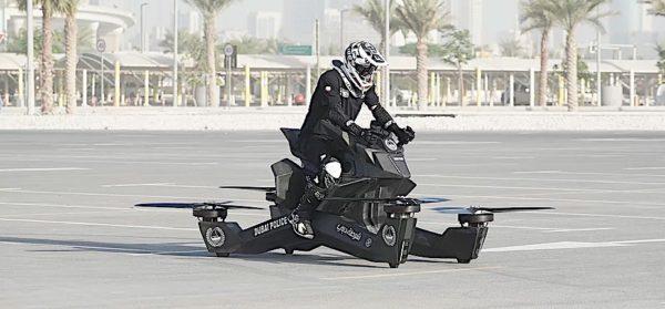 Flying bike Dubai Police quarter on ground