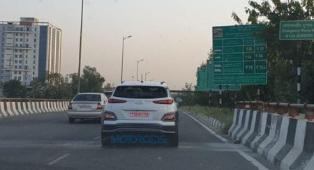 Hyundai's Kona SUV Makes an Electrifying Appearance on the Streets of Faridabad