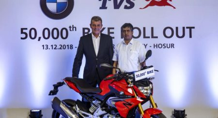 TVS Rolls Out 50,000th Unit Of The BMW 310 Series Motorcycle From Its Plant