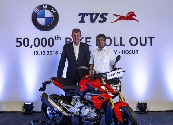 Dr. Markus Schramm & Mr. KNR Radhakrishnan at the 50000th BMW TVS rollout(2)