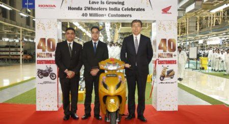 In a Journey of 18 Years Honda 2Wheelers Cross the 40 Million Sales Milestone