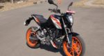 KTM Duke 125 review front quarter