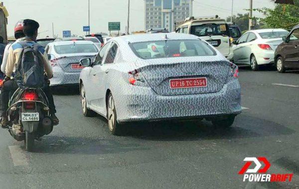 honda civic test mules mumbai rear