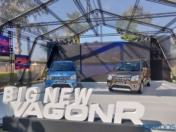 Accessories of new WagonR displayed cars front