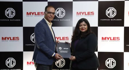 Rajeev Chaba, President & Managing Director, MG Motor India & Sakshi Vij, Founder & CEO, Myles durin
