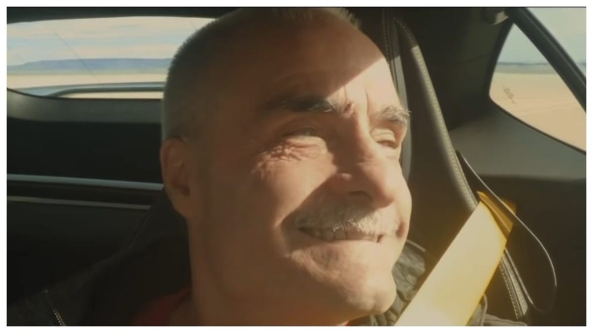 Blind man drives for the first time Bart smiling