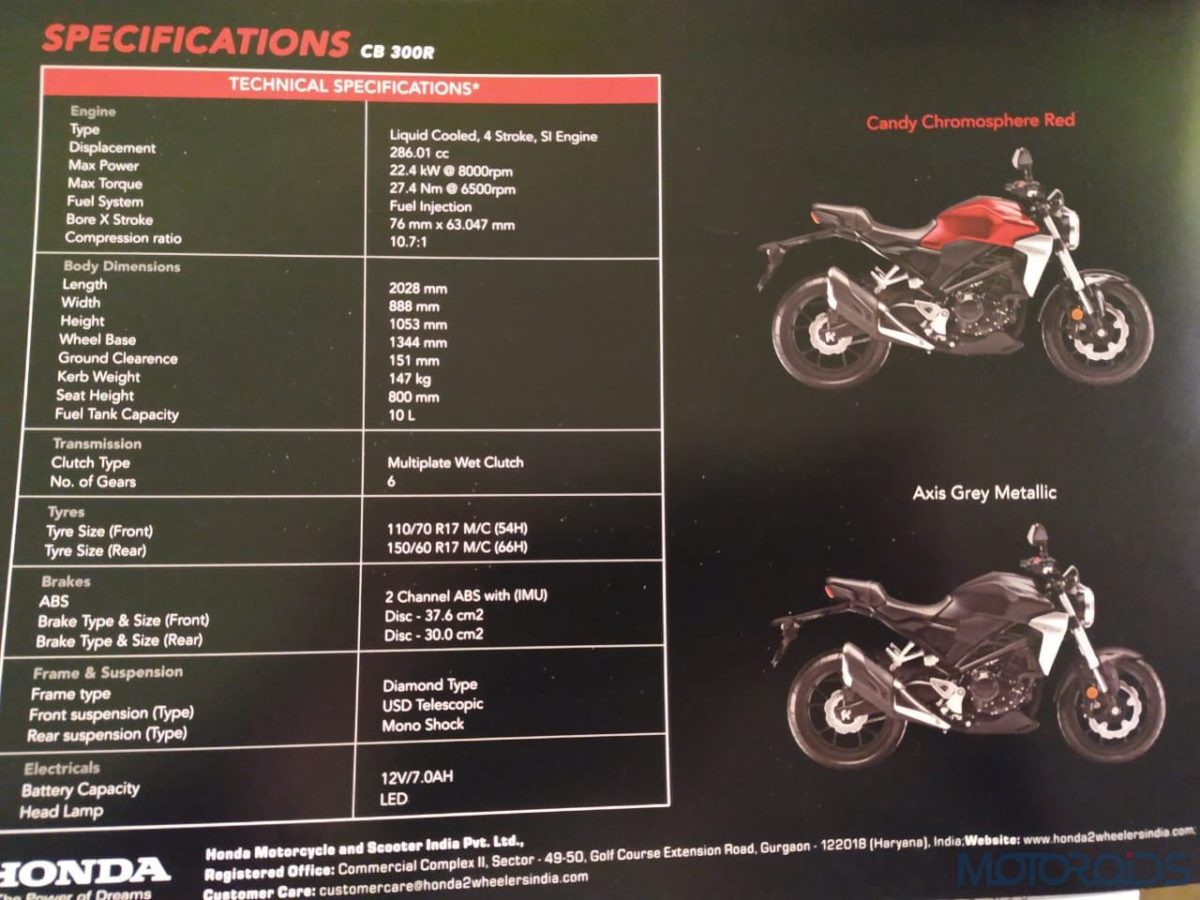Honda CB300R specifications