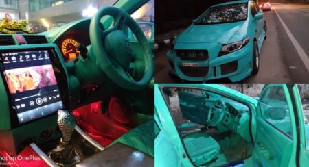 This Modified Honda City Is All About Its Teal And Its Cobra