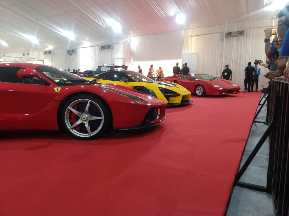Parx car rally inside the tent LaF, Senna, Countach