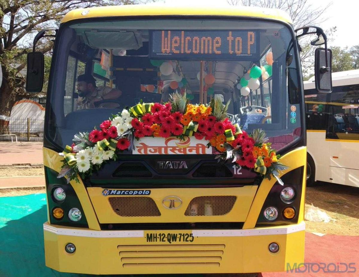 Tata Motors delivers six women friendly '9m Ultra Midi Buses' with Automatic transmission to PMPML today (2)