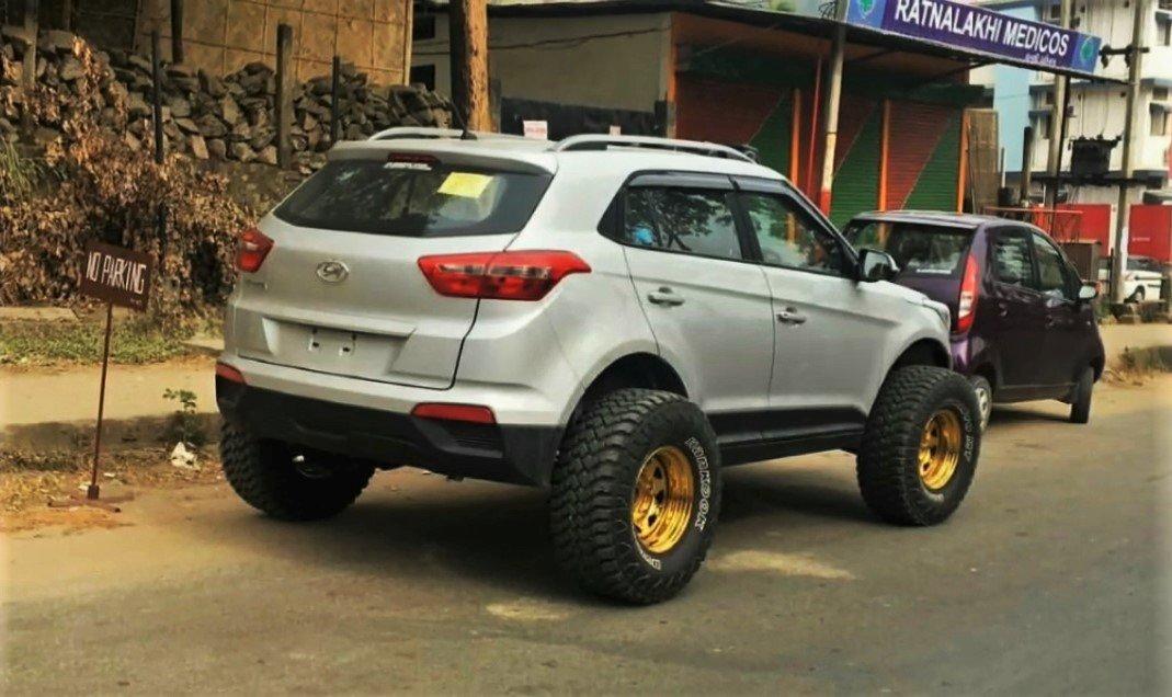 modified hyundai creta with monster tyres rear