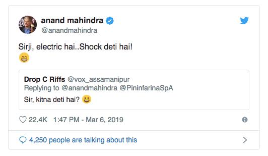 Anand Mahindra tweet reply
