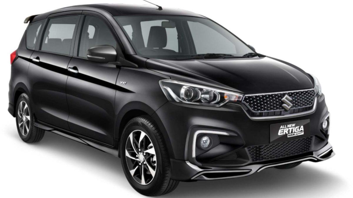 Ertiga Suzuki Sport black front quarter